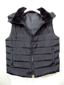 Padding Down Vest Eco Fur Switching With Hood