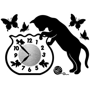 Wall Clock Sticker Clock/Watch Sticker Clock/Watch Sticker Cat Bowl