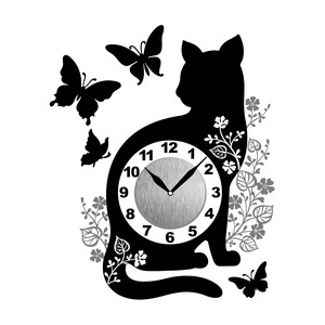 Wall Clock Sticker Clock/Watch Sticker Clock/Watch Sticker Cat Butterfly