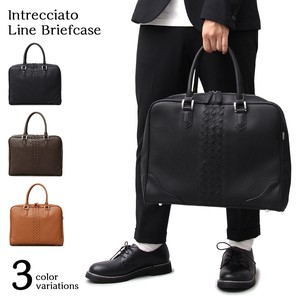Line Leather Brief Case Business Bag