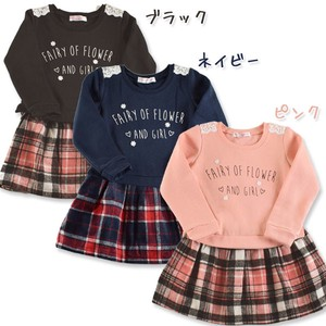 2018 A/W Toddler Raised Back Long Sleeve One-piece Dress Checkered Pattern