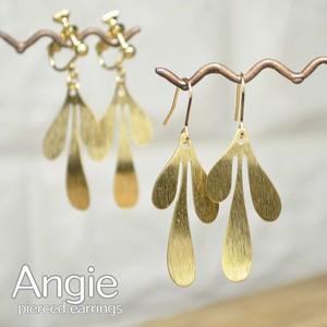 再入荷【Angie 】無垢真鍮 スリーティアドロップウェーブ ゴールド ピアス/イヤリング