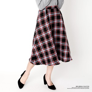 2018 A/W Tweed Checkered Flare Skirt
