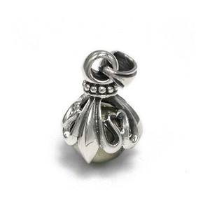 Silver 925 Round Ball Stone Pendant Lily Emblem Design Light