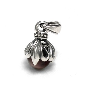 Silver 925 Round Ball Stone Pendant Lily Emblem Design Red Tiger's Eye