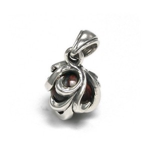 Silver 925 Round Ball Stone Pendant Arabesque Red Tiger's Eye