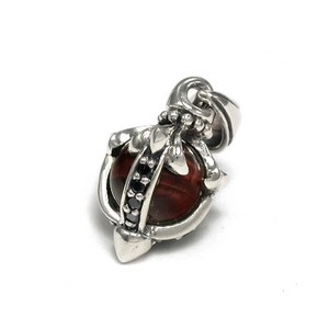 Silver 925 Round Ball Stone Pendant Red Tiger's Eye