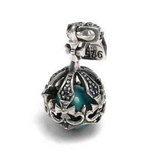 Silver 925 Round Ball Stone Pendant Crown Crown Closs Turquoise
