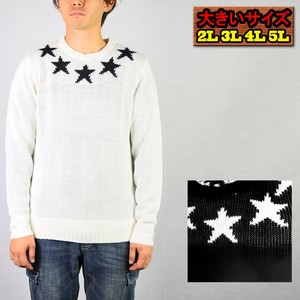 2018 A/W Acrylic Star Pattern Card Crew Neck Sweater