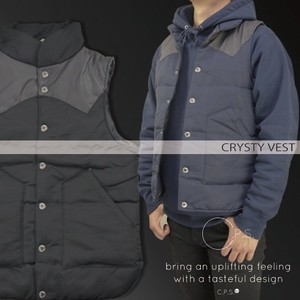 A/W Synthetic Leather Switching Padding Vest