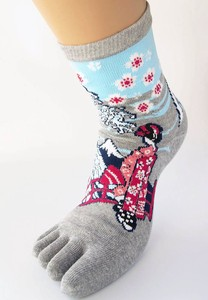Japanese Pattern 5fingers Mt. Fuji Series Apprentice Geisha 5fingers Socks Ladies
