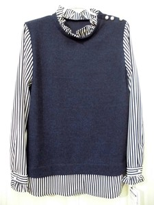 Vest Layering Docking Frill Neck pin Stripe Blouse Pullover