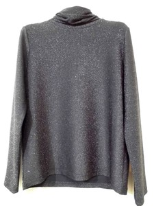 lame Shearing High Neck Long Sleeve Cut And Sewn Pullover Layering Inner