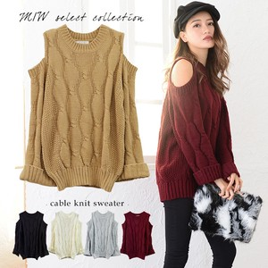 Cable Knitted Sweater Top Knitted Sexy Casual