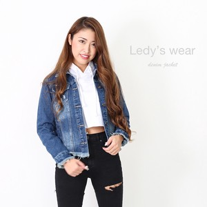 Ladies Cut Damage Denim Jacket