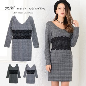Waist Lace Switching Checkered Long Sleeve One-piece Dress One-piece Dress Checkered