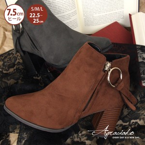 Ring Short Boots Wood Heel Bootie Leather Suede