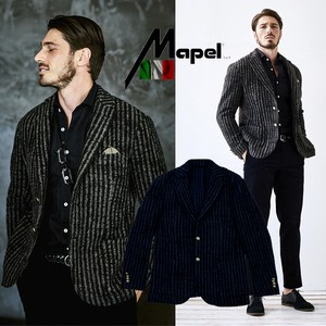 Italy Knitted Fabric Wool Stripe Jacket