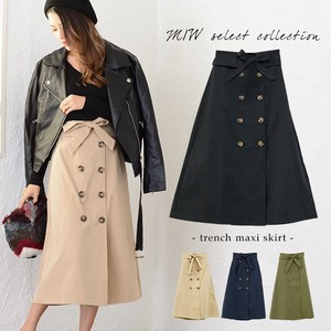 Appreciation Trench Maxi Length Skirt Flare Ribbon Button