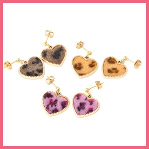 Leopard Gigging Heart Pierced Earring