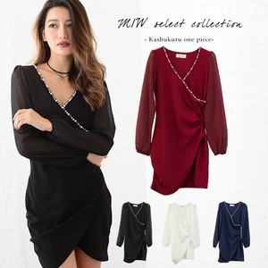 Pearl Decoration Long Sleeve One-piece Dress One Piece V-neck Sexy Long Sleeve Sheer