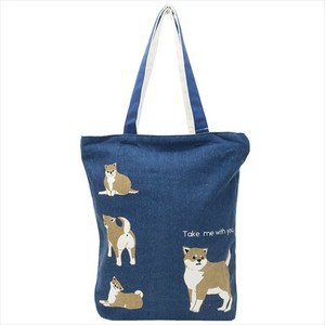 Fastener Attached Canvas Tote Shiba Dog