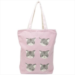 Cat Yawn Fastener Attached Canvas Tote