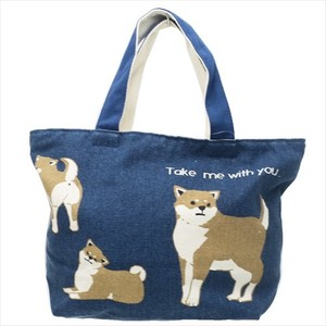 Lunch Tote Fastener Attached Canvas Tote Shiba Dog