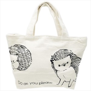 Lunch Tote Fastener Attached Canvas Tote Hedgehog