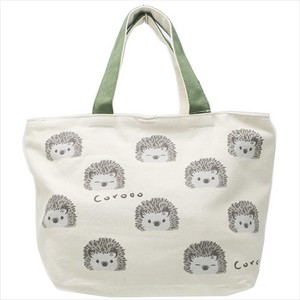 Lunch Tote Face Fastener Attached Canvas Tote Hedgehog