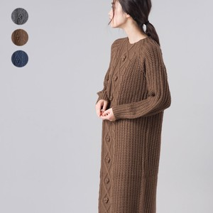 Wool Front Cable Knitted One-piece Dress 2018 A/W