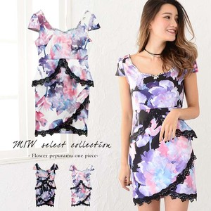 Floral Pattern Frill Plum Short Sleeve One-piece Dress Sexy Plum Pearl Floral Pattern