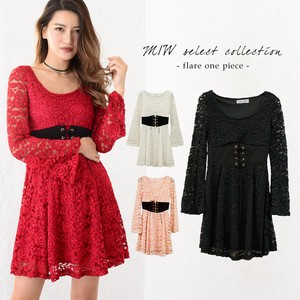 Lace Waist pin Flare One-piece Dress Lace Flare pin Flare One-piece Dress