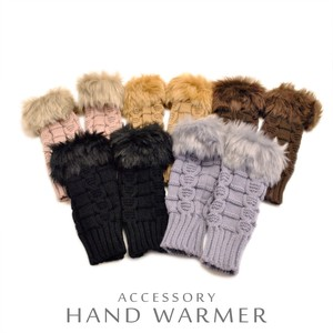 Fur Knitted Hand Warmer Glove Long