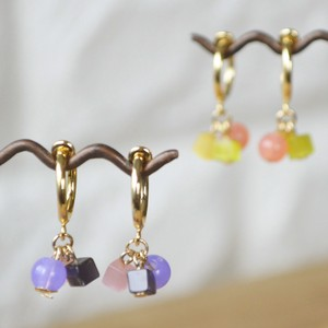 Hoop Earring Multi-Color Beads 2 Colors