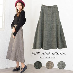 Appreciation Checkered Long Skirt Flare Women Casual Middle