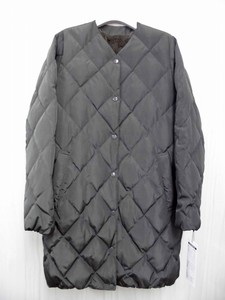 Diamond Quilt Non-colored Down Coat Back Fake Fur Attached