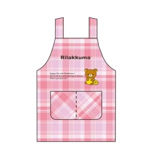 Rilakkuma Kids Apron Checkered Pink 30cm