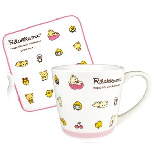 Rilakkuma Mug Towel Set Icon Pink