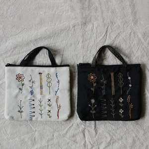 Embroidery Series Flower Handle Attached Pouch
