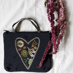 Embroidery Series Heart Handle Attached Pouch