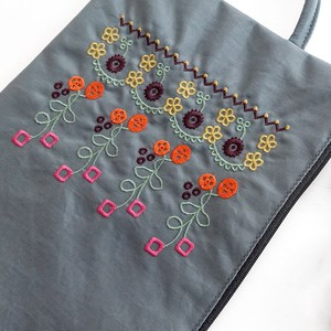 Embroidery Series Flower Embroidery Purse Flat Pouch