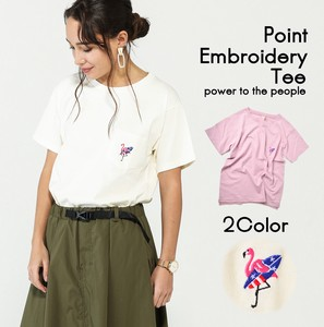 Flamingo One Point Embroidery T-shirt