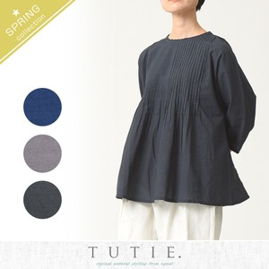 Fine pin Tuck Frill Blouse