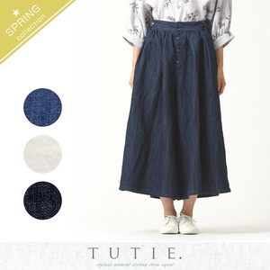 Cotton Linen Denim Tuck wide pants
