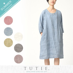 Belgium Linen Dyeing Tuck One-piece Dress