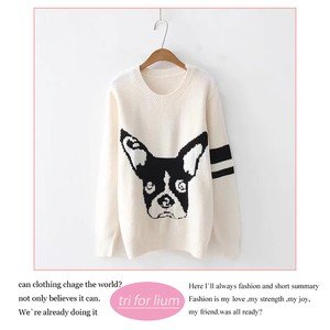 2018 A/W Dog Design Round Neck Sweater