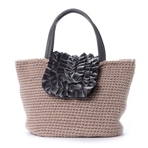 2018 A/W Frill Flap Hand Knitting Tote Bag
