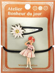 France Wooden Button Hairpin Hair Elastic Set Atelier