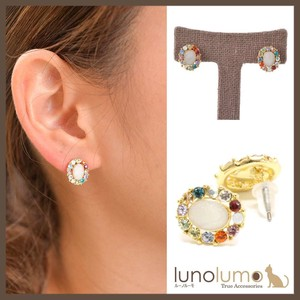 Oval Design Multi-Color Pierced Earring
